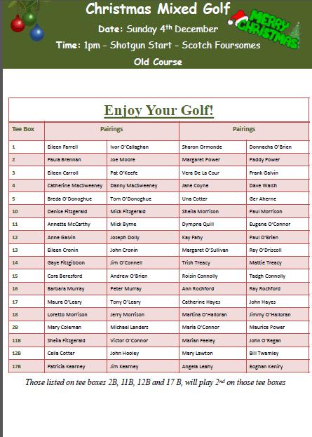 Mixed Golf 4th Dec Timesheet